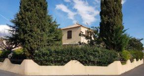 Villa med trädgård och garage