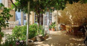 Stenhus med trädgård och pool
